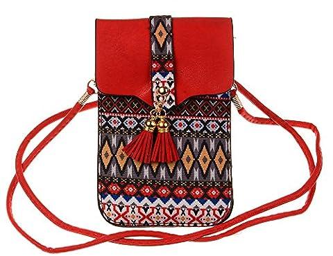 KISS GOLD (TM) Sac Téléphone Folklore Style Mini Sac Bandoulière Poche pour Femmes(Rouge)