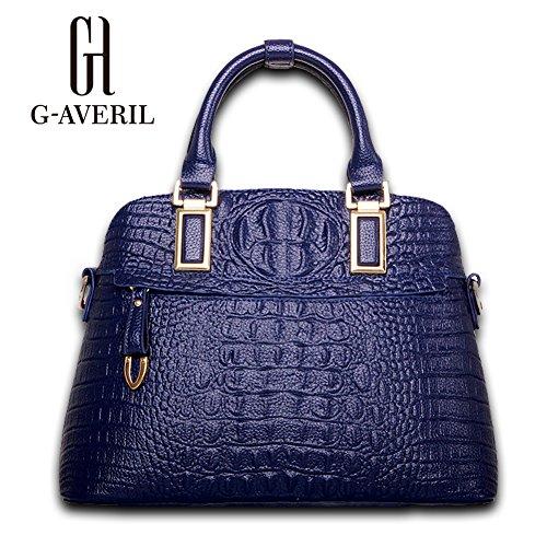 (G-AVERIL) Borsa a Mano da Donna Tracolla in Pelle Stampa Intrecciata Made in Cina GAVERIL Borse Blu scuro