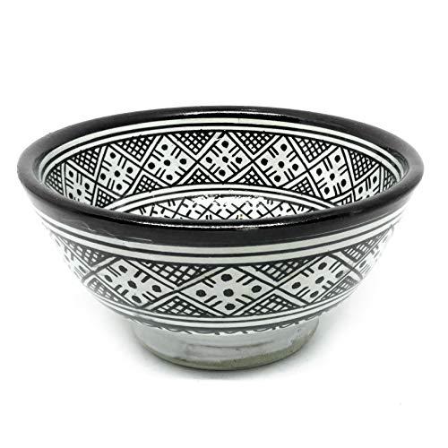 Schale noir et blanc 18cm | bunte marokkanische Keramik Schale aus Marokko -