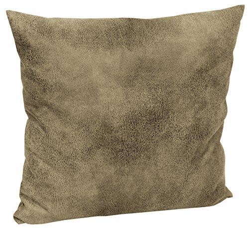 Mikrofaser-leder-sofa (Tabago Kissenhülle Lederoptik ca. 50x50 cm täuschend echt & anschmiegsam Farbe 620 Stone)
