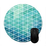 Aqua Triangle Geometric Design Mouse Pad -Stylish Office Computer Accessory 7.87in
