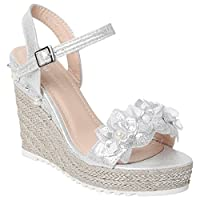 Ladies Sandals Beads Diamante Patent Flower HIGH Wedge Sandal Summer Fashion Evening Shoes Espadrille Gladiator Womens Ankle Buckle Fastening Platform Girls Open Toe Wedges (UK 5, Silver)