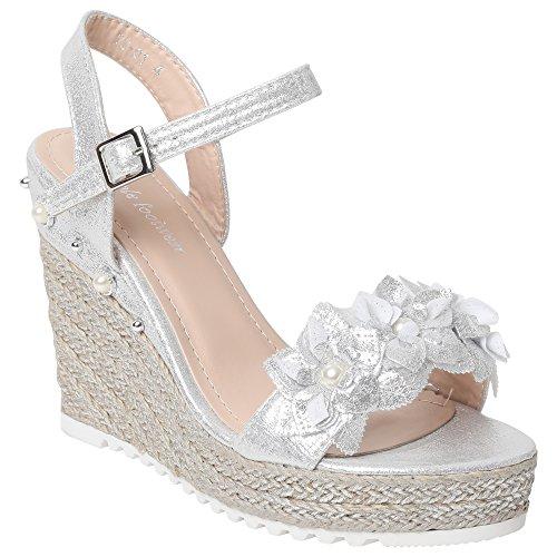 Ladies Sandals Beads Diamante Patent