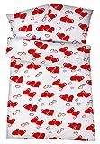 GenießedenSchlaf Leichte Seersucker Sommer-Bettwäsche mit Herz Muster in Weiß und Rot. Bügelfrei, kühl und Pflegeleichte Bett-Bezüge aus 100% Baumwolle mit Reißverschluss - 135 x 200 cm