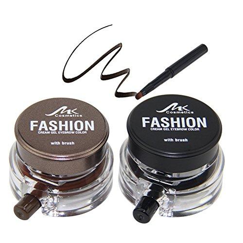MK Set de Geles de Cejas Tintes para Cejas Permanentes de Maquillaje Natural Colores de Cejas Negro y Marrón en Crema Impermeables