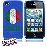 Originale Schutzschale von MUZZANO : Blau, ultradünn und flexibel, mit Fußball Italia-Muster für APPLE IPHONE 4S