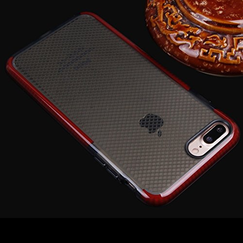 Hülle für iPhone 7 plus , Schutzhülle Für iPhone 7 Plus Plaid Texture Transparente TPU Schutzhülle ,hülle für iPhone 7 plus , case for iphone 7 plus ( Color : Grey ) Red