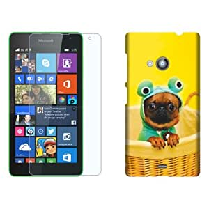 Design Worlds Flexible Tempered Glass + Back Cover Combo For Nokia Lumia 535