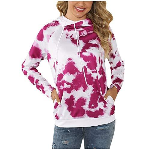 VECDY Damen Kapuzenpullover Frauen Jacken Pullover Frauen Gefärbt Druck Freizeit Seite Langarm Bluse mit Kapuze Sweatshirt Tshirts -