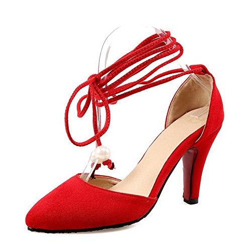 AgooLar Femme Lacet Suédé Pointu à Talon Haut Couleur Unie Chaussures Légeres Rouge