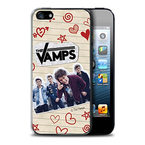 Offiziell The Vamps Hülle / Case für Apple iPhone SE / Pack 5Pcs Muster / The Vamps Doodle Buch Kollektion Rot Stift