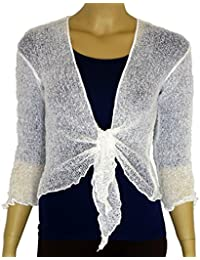 531a89ed2a LADIES PLAIN KNITTED CROPPED TIE UP BOLERO SHRUG TOP - MASSIVE RANGE OF  COLOURS FIT ALL