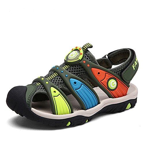 Frühling und Sommer Unisex-Kinder Strand Geschlossene Sandalen Klettverschluss Outdoor Trekking Sandalen Breathable Schuhe Grün