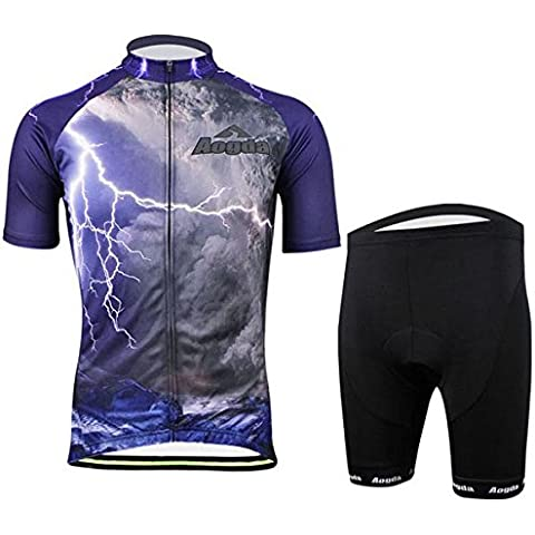 MaMaison007 Traje de ropa mens bicicleta bici ciclismo babero de tela ropa deportiva pantalones cortos - M