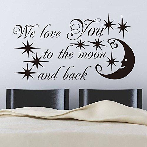 E-love Starry Night Wandaufkleber / Wanddeko, Schrift mit Mond und Sternen, wiederverwendbar
