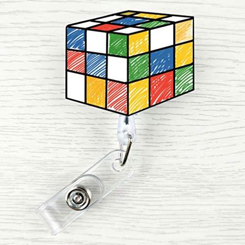 jkfui Praktische Cartoon Retractable Id Name Badge Reel Pull Clip Key Card Holder Clip Office Work Tags Reel Badge Lanyard(None Rubik Cube) -