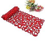 Camino de mesa, la flor hueco Tischband Mantel almohadilla de fondos de pantalla Coaster Decorar su habitación lavables, 100 x30cm (rojo)