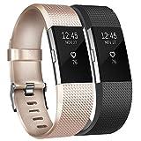 Tobfit Fitbit Charge 2 Bracelets l'acier Inoxydable Secure Boucle Remplacement Reglables Bracelet Strap pour Fitbit Charge 2 (2-Pack Classic Champaign Gold+Noir, Small)