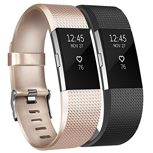 Tobfit Fitbit Charge 2 Armband Weiches TPU Ersetzbar Armbänder Fitness Verstellbares für Fitbit Charge 2 (*Champagner Gold+Schwarz, L)
