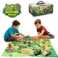 Wenosda Dinosaur Toy Figure with Play Mat,Dino Playset Dragon with Carpet Playmat & Car Educational Toys for Kids,Children