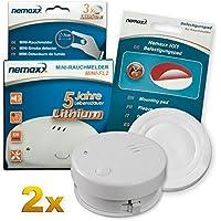 2X Detector de Humo Nemaxx Mini-FL2 Mini Detector de Fuego y Humo Detector con batería de Litio de Acuerdo con la Norma DIN EN 14604 + Nemaxx Pad de fijación Adhesiva Quickfix NX1