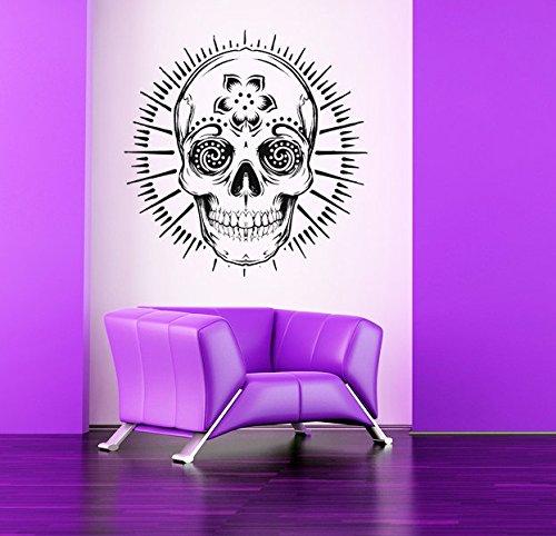 cranio-di-zucchero-motivo-floreale-creative-progettato-wall-stickers-home-arte-bel-decor-carta-mural