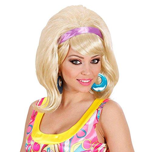 60er Jahre Perücke blond Damenperücke Fasching Frauen Faschingsperücke -