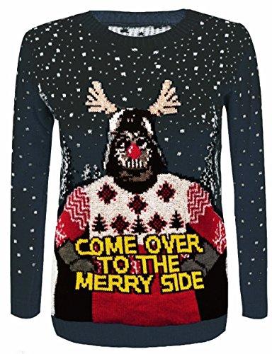 F&F Frauen Damen Unisex Weihnachten Star Wars kommen zu Merry Side Print Pullover Pullover, Schwarz, Medium/Large (Star Wars Weihnachten Pullover)
