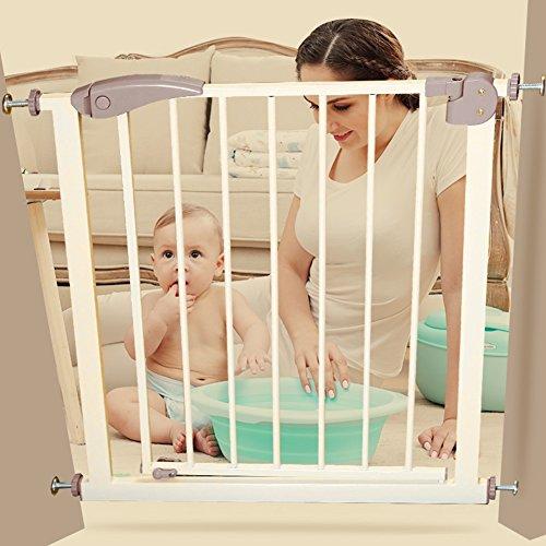 barrière de sécurité Porte de bébé extra large avec porte pour animal de compagnie Attacher à des portes d'escalier de balustrade Protecteur de mur de balustrade 65-124CM Wide Whtie Metal ( taille : 118-124cm )