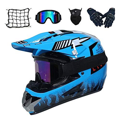 MRDEAR Motocross Helm Blau, Unisex Motorrad Crosshelm mit Brille (5 Stück) Kinder Fullface MTB Helm Off Road Mopedhelm Motorradhelm für Damen Herren Sicherheit Schutz,S