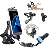 iBOLT mProNFC Combo Car Dock / Mount / Holder / with microUSB Charging Cable for Android and Windows devices with a center port. Comes with 3 mounting options ( suction cup mount, vent mount , and adhesive miniBall mount), an integrated 2 meter microUSB Cable, and a 3.1 Amp triple USB port car charger. Works with most cases