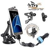 iBOLT mProNFC Soporte combinado para automóvil con base, pinza y soporte, con cable Micro USB de carga, para Android y dispositivos con puerto central, 3 opciones de montaje (ventosa, rejilla radiador y soporte circular adhesivo), puerto USB cargador de 3,1 A para coche, compatible con la mayoría de carcasas