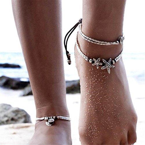 Chicer Rune Boho Starfish Anklet Foot Chain Vintage Ankle Bracelet For Women Barefoot Sandal Beach Jewellery Adjustable(Silver1/1Pc)