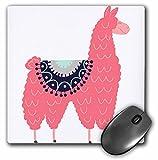 3dRose mp_280220_1 Mauspad mit Schabrackdecke, 20,3 x 20,3 cm, lustige kreative flauschige rosa Llama mit einer Satteldecke, mehrfarbig