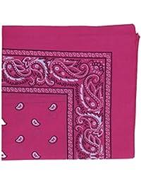 HOT PINK cotton bandana scarf SQUARE BLACK WHITE PAISLEY