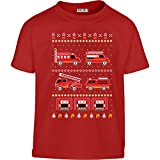 KIDS Toller Feuerwehr Weihnachtspullover Kleinkind Kinder T-Shirt - Gr. 86-128 86/92 (1-2J) Rot