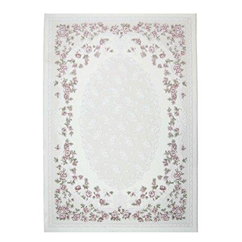 CC Hochwertiger Sultan Teppich Acrylgarn Gewebt Ornamente Floralmuster Rosa Creme, Größe in cm:160 x 230 cm -