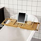SoBuy® FRG207-N Pont de Baignoire Extensible Serviteur de baignoire en Bambou Support pour portable verre savon et gel douche