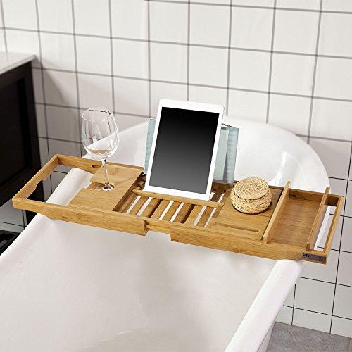 SoBuy®FRG207-N,ES Bandeja de bambú para bañera,estante de baño, ajustable entre 70 y 104 cm con soporte para copa de vino, iPad y móvil