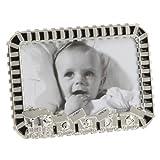 Der versilberte Baby Bilderrahmen / Fotorahmen Zug mit Gravur der Geburtsdaten