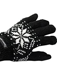 Men's Black and White Snowflake Print Thermal Gloves