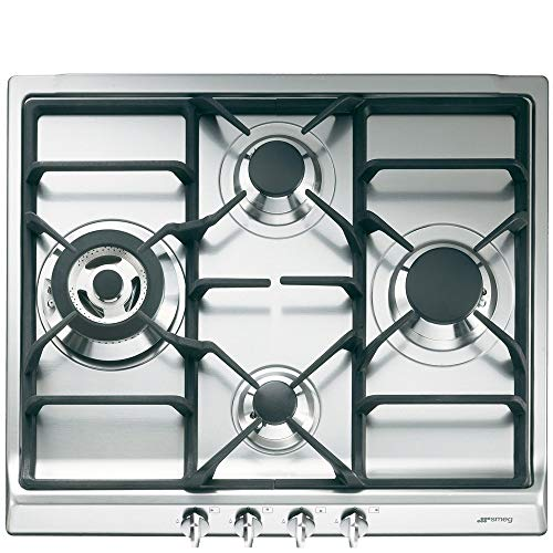 Smeg SR60GHS hobs - Placa (Integrado, Gas, Cast-iron, Giratorio, Frente, 220-240V) Acero...