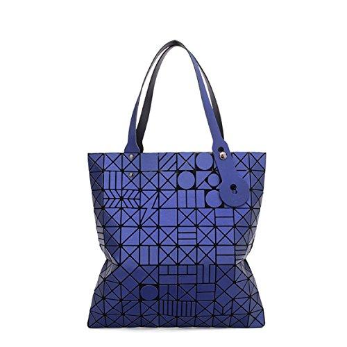 Geometrisch Reim Tasche Mädchen 2017 Falten Große Kapazität Handtasche Weiblich Persönlichkeit Einfach Stilvoll Mehrfarbige Große Kapazität Lässig Tasche Blue