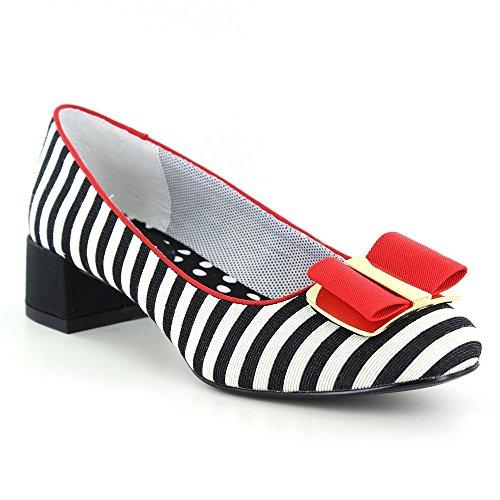 Ruby Shoo Damen Schuhe June Vintage Striped Streifen Pumps (41, Schwarz-Weiß Gestreift/Rot)