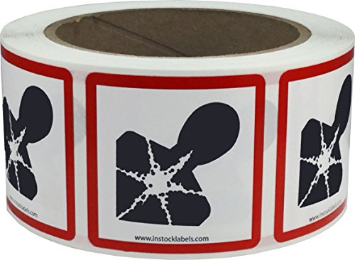 GHS Pictograma Peligro para la Salud Pegatinas, 51 mm 2 Pulgadas Cuadrado, 500 Etiquetas en un Rollo