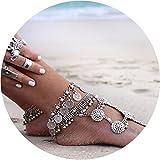 Chicer boho vintage bracciale cavigliera spiaggia accessori a piedi nudi sandalo piede catena regolabile per donne e ragazze (argento/1PC)