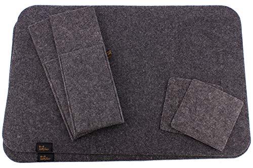 Luxflair Edles Platzset Dunkelgrau. Tischset aus Filz - Tolles Accessoire für Esszimmer