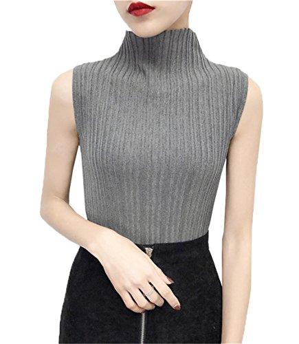 COCO clothing Strickpullover Damen ohne ärmel Tops Sommer Herbst T-shirt Hoher Kragen Oberteil Slim Fit Elegant Bluse Frauen (grau)