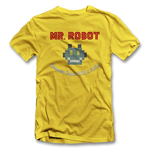 Mr Robot Computer Repair With A Smile T-Shirt S-XXL 12 Farben / Colours Gelb