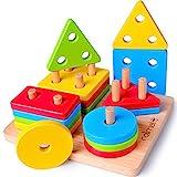 Rolimate Apilador Geométrico de Madera, Bloques de Construcción para Clasificar Apilar Encajar Juguetes Educativos Apilables para Niños Niñas Bebés de 1 2 3 4 Años (16 PCS)